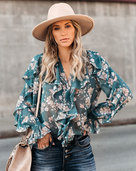 Favorite Fragrance Floral Ruffle Blouse - FINAL SALE