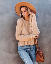 Fawn Cotton Cropped Sweater - Sand