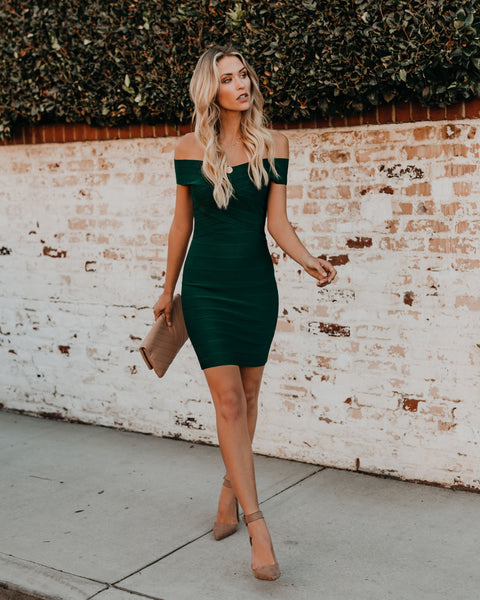 Feeling Fabulous Bandage Bodycon Dress - Hunter Green