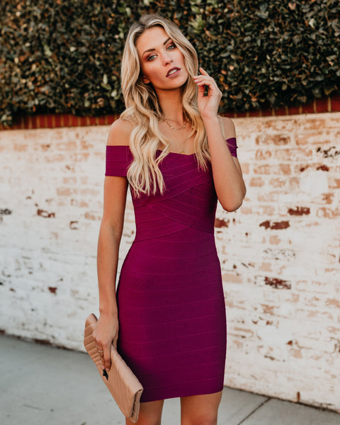Feeling Fabulous Bandage Bodycon Dress - Wine
