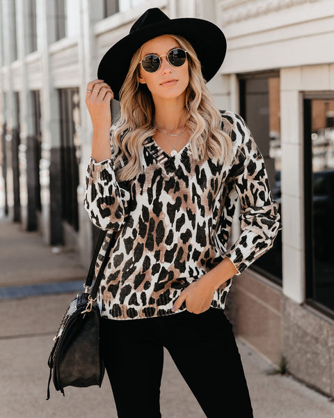 Feel My Love Leopard V-Neck Sweater - FINAL SALE