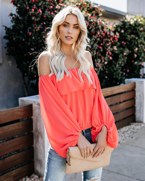 Fell For You Off The Shoulder Top - Bright Coral