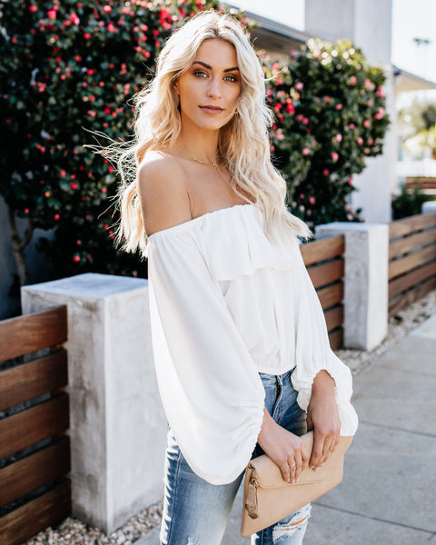 Fell For You Off The Shoulder Top - White