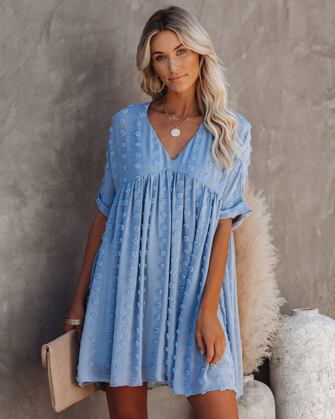 Fever Pitch Pom Babydoll Tunic - Misty Blue