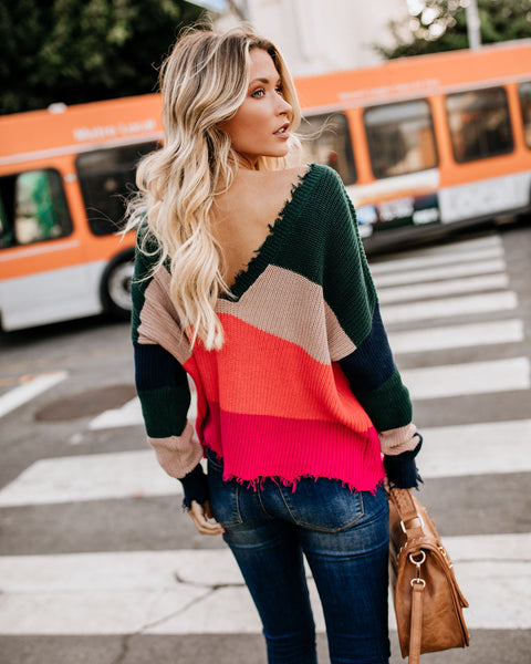 Fierce Distressed Versatile Cotton Knit Sweater