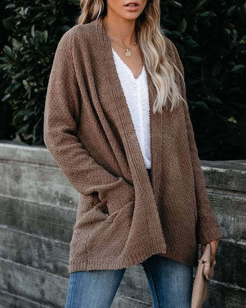 Fill Your Home Pocketed Cardigan - Mocha - FINAL SALE