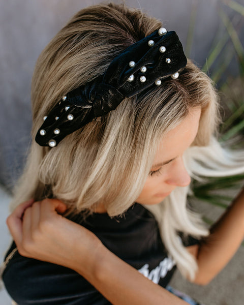 Final Touch Pearl Bow Satin Headband