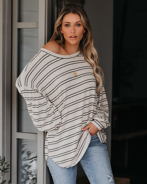 Find A Way Striped Balloon Sleeve Knit Top - FINAL SALE