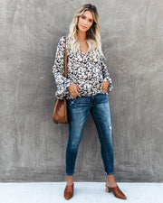 Find It, Love It Floral Shimmer Blouse - Navy - FINAL SALE