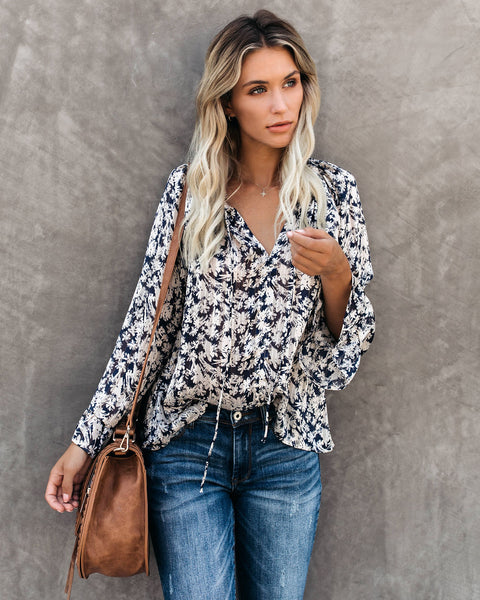Find It, Love It Floral Shimmer Blouse - Navy