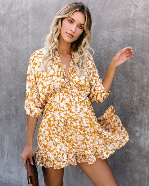 Find It, Love It Ruffle Tiered Babydoll Dress - Mustard
