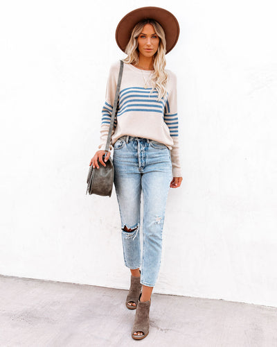 Fine And Mellow Striped Thermal Knit Top