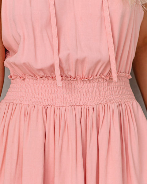 Fine By Me Pocketed Smocked Dress - Mauve
