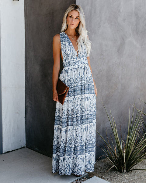 Fine China Twist Back Printed Maxi Dress - FINAL SALE
