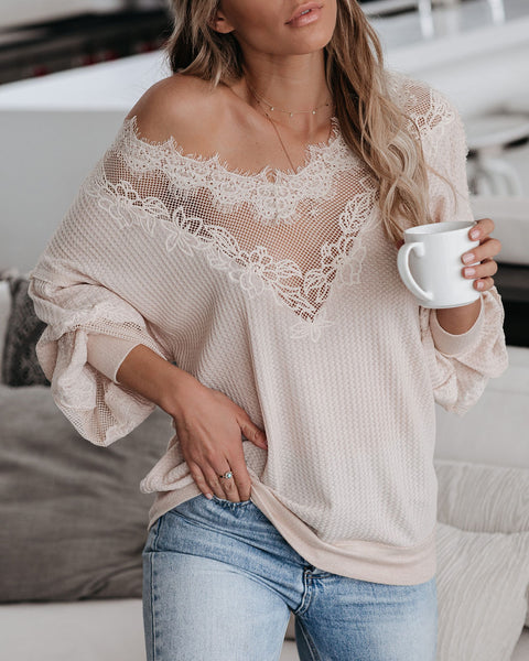 Finer Times Lace Thermal Knit Top - FINAL SALE