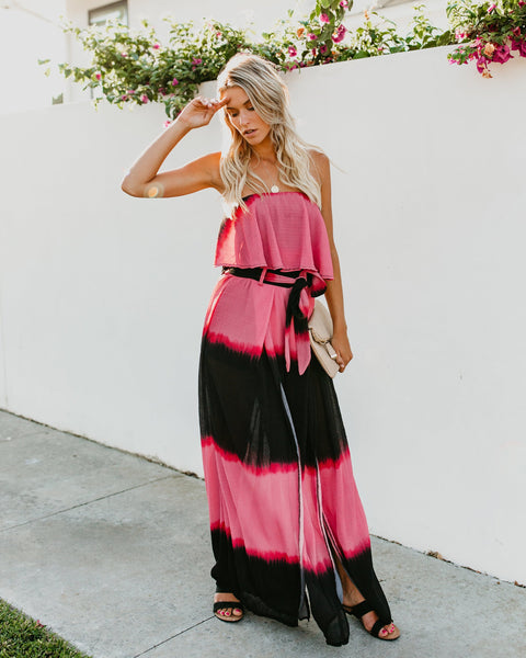 Fiore Strapless Cotton Tie Dye Jumpsuit