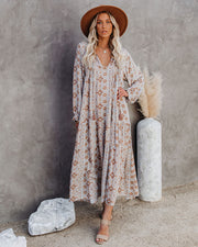 Firenze Printed Boho Maxi Dress - Baby Blue view 10