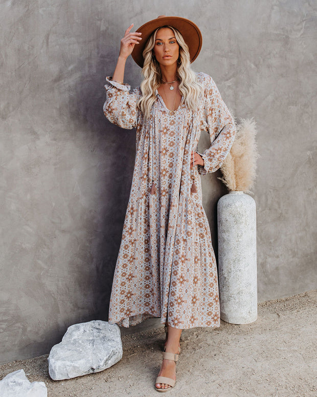 Firenze Printed Boho Maxi Dress - Baby Blue view 11