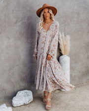 Firenze Printed Boho Maxi Dress - Baby Blue view 1