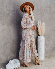 Firenze Printed Boho Maxi Dress - Baby Blue view 12