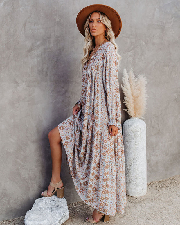 Firenze Printed Boho Maxi Dress - Baby Blue view 3