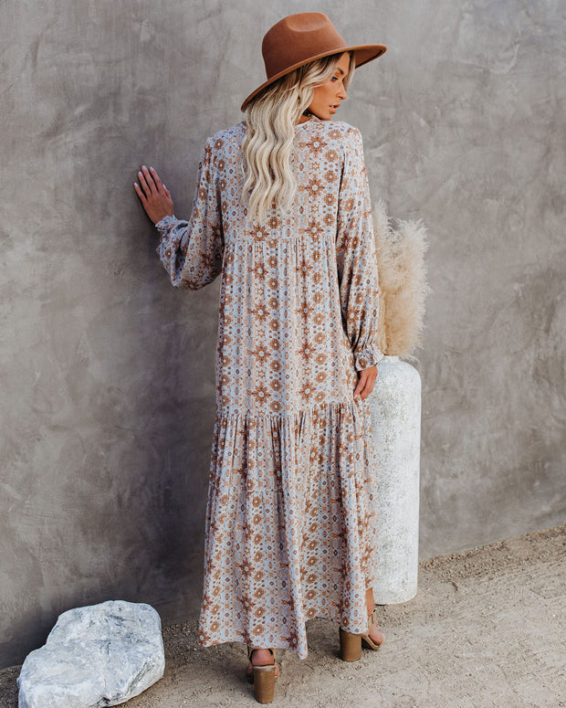 Firenze Printed Boho Maxi Dress - Baby Blue view 2
