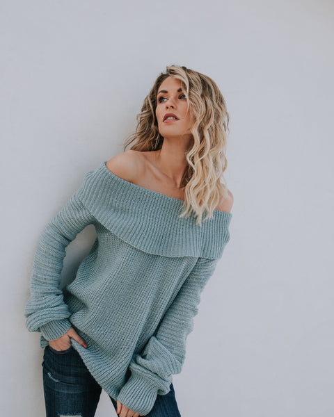 Josie Off The Shoulder Sweater - Dark Mint