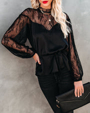 First And Foremost Satin Lace Tie Blouse - FINAL SALE view 6