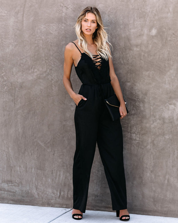 First Dibs Criss Cross Lace Pocketed Jumpsuit - FINAL SALE view 2