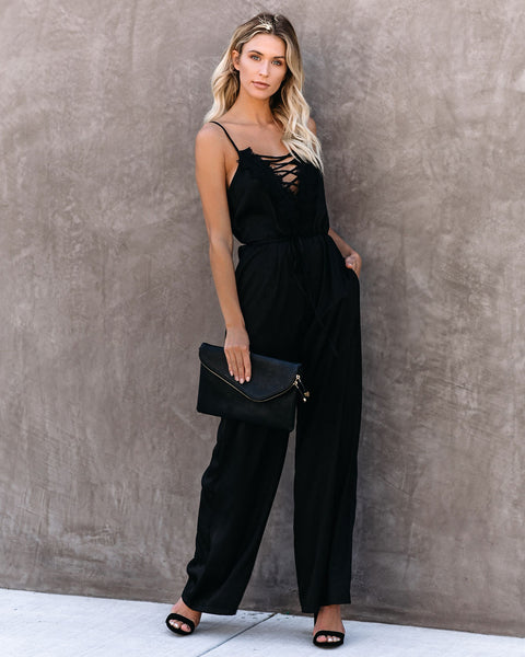 First Dibs Criss Cross Lace Pocketed Jumpsuit