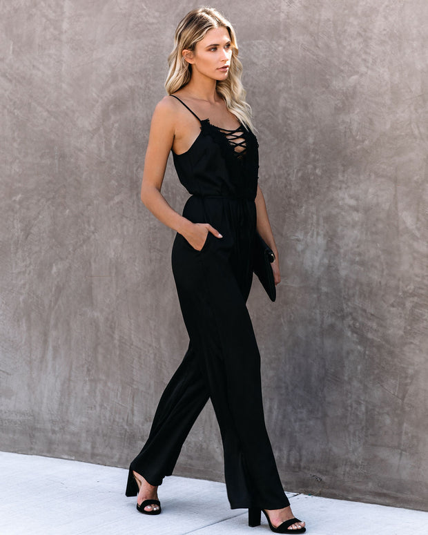 First Dibs Criss Cross Lace Pocketed Jumpsuit - FINAL SALE view 11