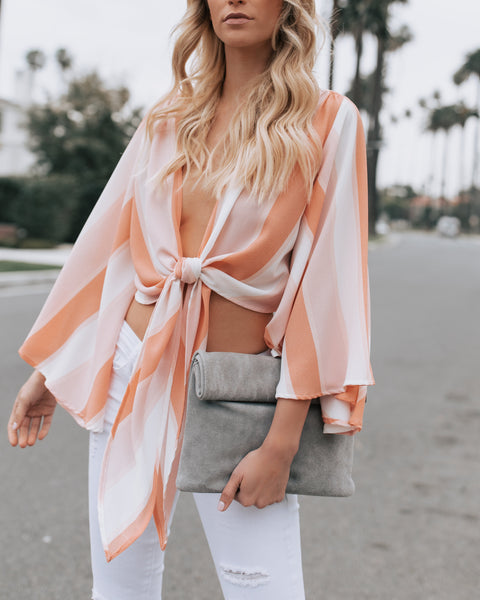 On The Horizon Striped Tie Top - FINAL SALE