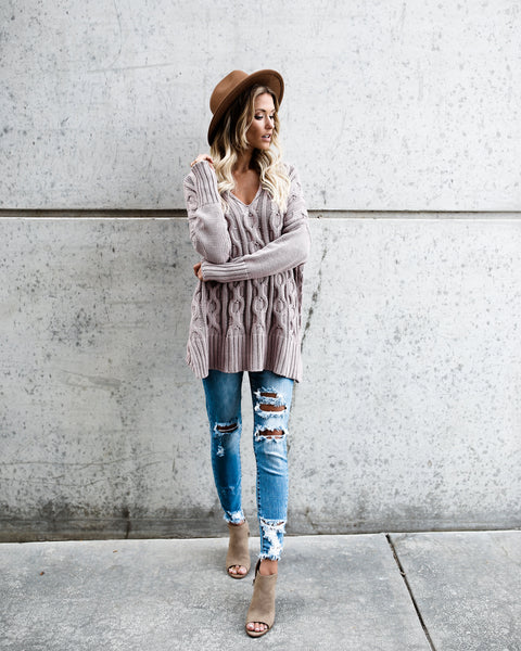 Good Natured Cable Knit Cotton Sweater - Mauve