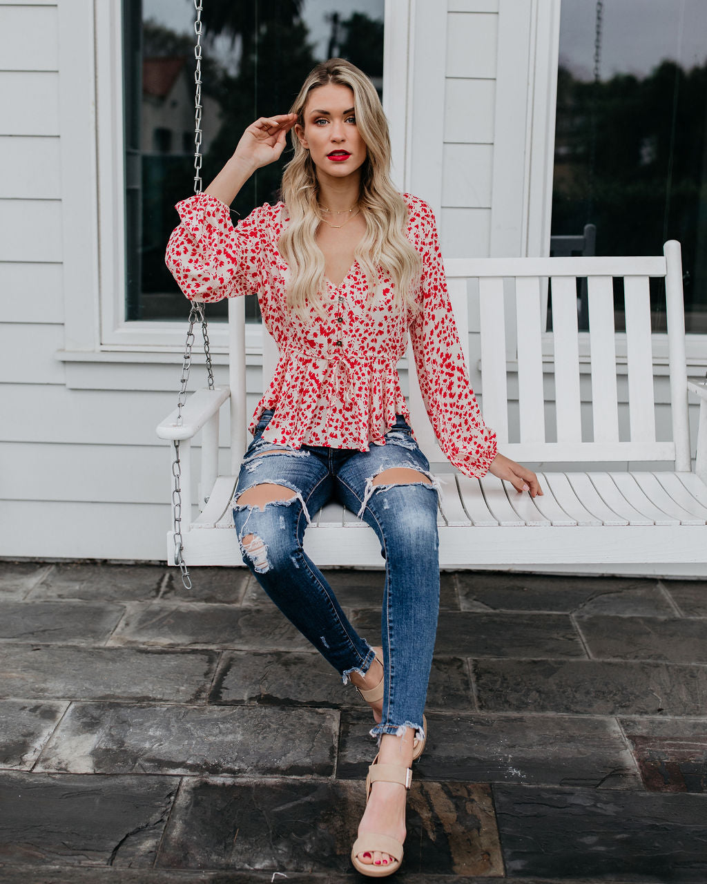 1f227330f55 First Kiss Floral Drawstring Blouse – VICI