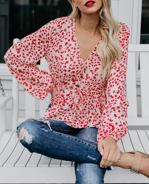 First Kiss Floral Drawstring Blouse - FINAL SALE