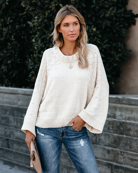 First Snow Pearl Embellished Chenille Knit Sweater