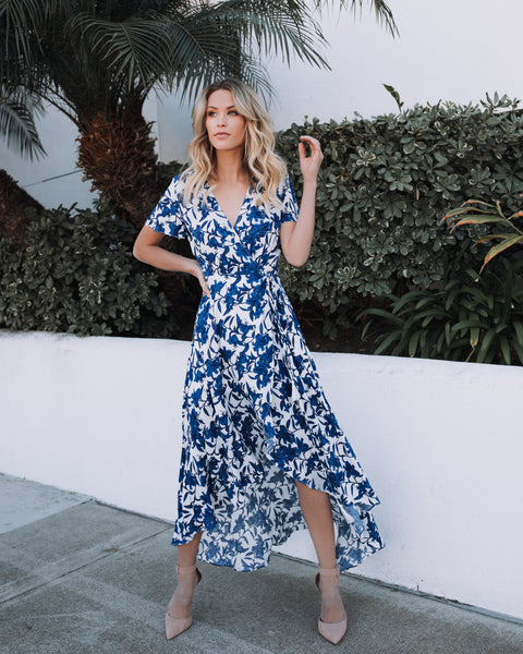 Greek Isles Wrap Maxi Dress