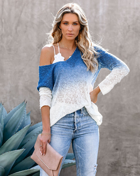 Fishing For Compliments Ombre Tunic Sweater - Blue