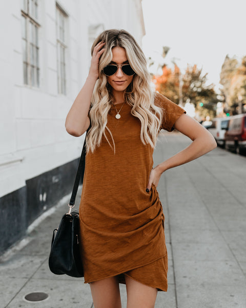 Fits Like A Glove Ruched Shirt Dress - Camel