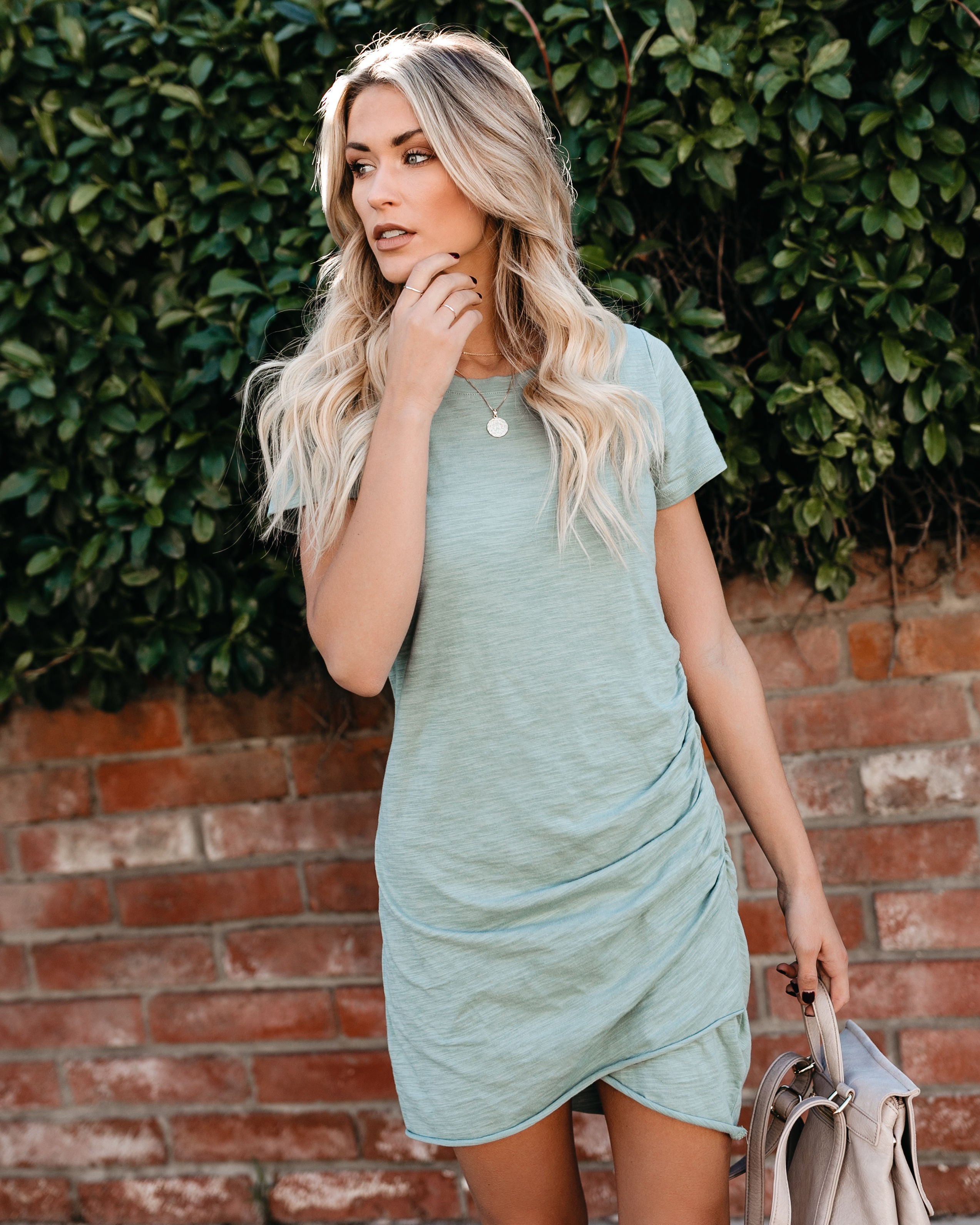 Fits Like A Glove Ruched Shirt Dress Sage Vici