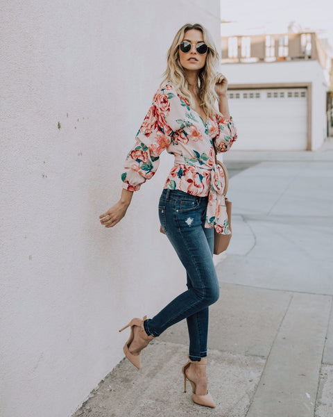 Lovely Promise Floral Wrap Blouse