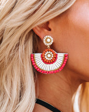 Fiza Beaded Fan Statement Earrings view 2