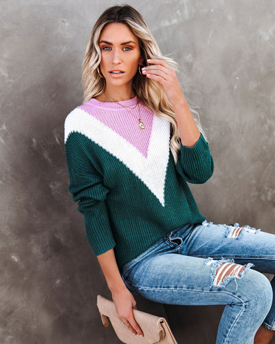 Flavor Of The Season Chevron Knit Sweater