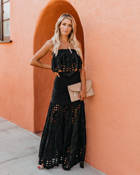 Flawless Cotton Eyelet Maxi Skirt - Black
