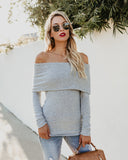 Fleming Brushed Knit Off The Shoulder Top - Heather Grey