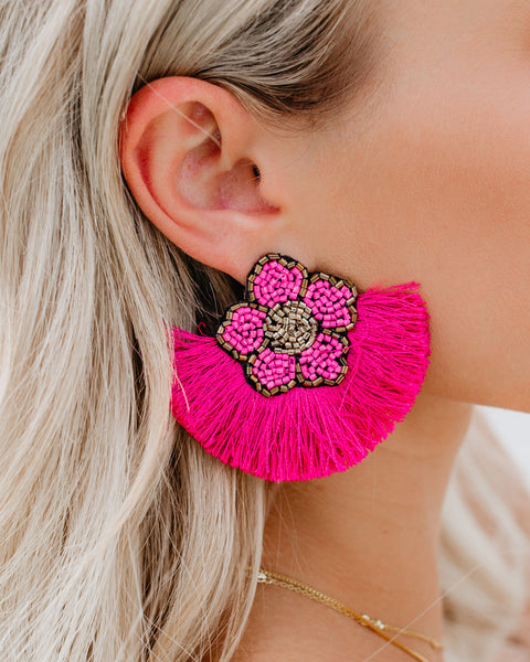 Fleur De Lis Beaded Fringe Earrings - Pink