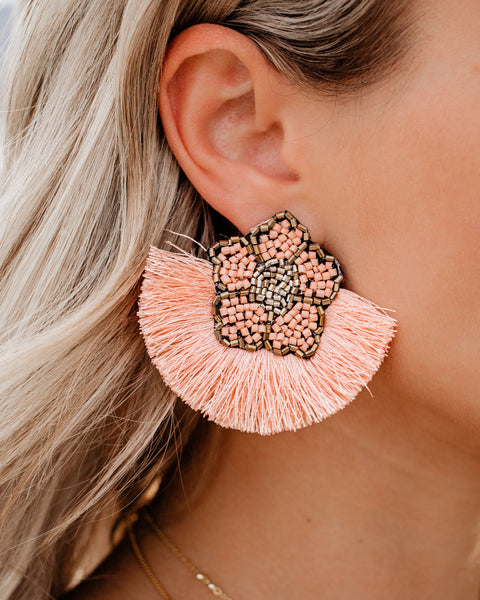 Fleur De Lis Beaded Fringe Earrings - Peach
