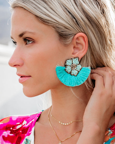 Fleur De Lis Beaded Fringe Earrings - Turquoise