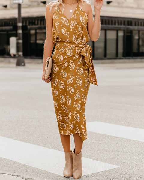 Flight Of Fancy Printed Wrap Midi Skirt - Mustard - FINAL SALE