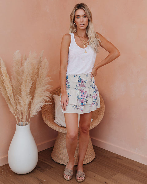 Floral Aroma Smocked Tiered Mini Skirt